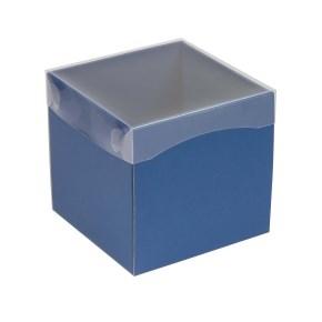 Darčeková krabička s priehľadným vekom 150x150x150 mm, modrá