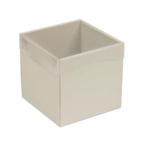 Darčeková krabička s priehľadným vekom 150x150x150 mm, sivá