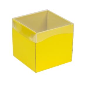 Darčeková krabička s priehľadným vekom 150x150x150 mm, žltá