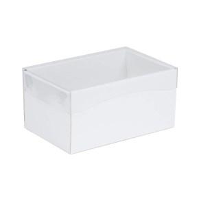 Darčeková krabička s priehľadným vekom 200x125x100 mm, biela