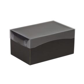 Darčeková krabička s priehľadným vekom 200x125x100 mm, čierna
