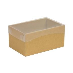 Darčeková krabička s priehľadným vekom 200x125x100 mm, hnedá - kraft