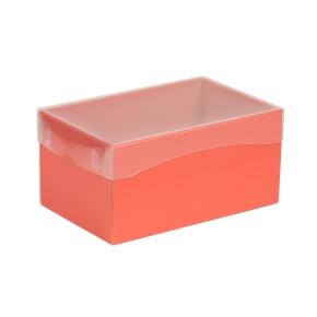 Darčeková krabička s priehľadným vekom 200x125x100 mm, koralová