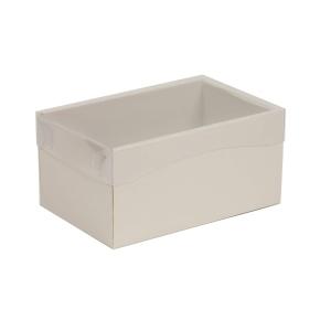 Darčeková krabička s priehľadným vekom 200x125x100 mm, sivá