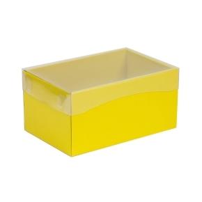 Darčeková krabička s priehľadným vekom 200x125x100 mm, žltá