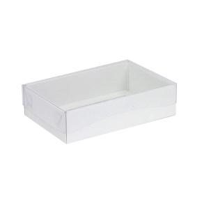 Darčeková krabička s priehľadným vekom 200x125x50 mm, biela