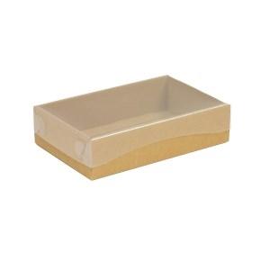 Darčeková krabička s priehľadným vekom 200x125x50 mm, hnedá - kraft