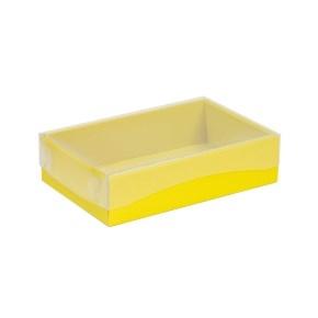 Darčeková krabička s priehľadným vekom 200x125x50 mm, žltá