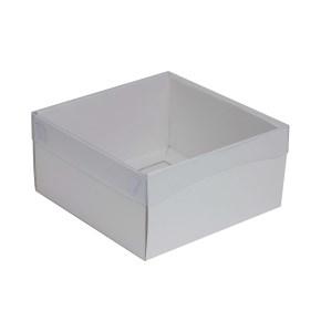 Darčeková krabička s priehľadným vekom 200x200x100/35 mm, biela