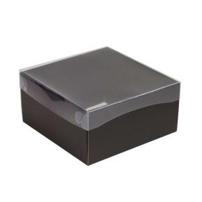 Darčeková krabička s priehľadným vekom 200x200x100/35 mm, čierna