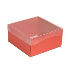 Darčeková krabička s priehľadným vekom 200x200x100/35 mm, koralová