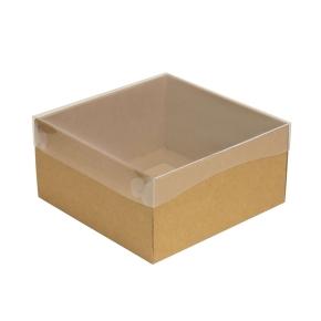 Darčeková krabička s priehľadným vekom 200x200x100/35 mm, kraftová - hnedá