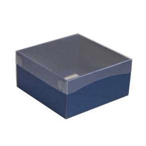 Darčeková krabička s priehľadným vekom 200x200x100/35 mm, modrá