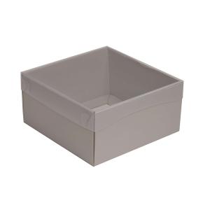 Darčeková krabička s priehľadným vekom 200x200x100/35 mm, sivá
