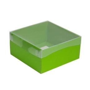 Darčeková krabička s priehľadným vekom 200x200x100/35 mm, zelená