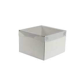 Darčeková krabička s priehľadným vekom 200x200x140/35 mm, biela mierny lesk