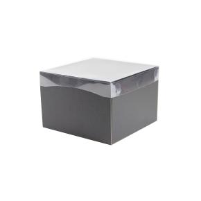 Darčeková krabička s priehľadným vekom 200x200x140/35 mm, čierno šedá matná