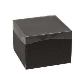 Darčeková krabička s priehľadným vekom 200x200x150 mm, čierna