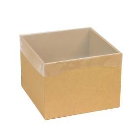 Darčeková krabička s priehľadným vekom 200x200x150 mm, hnedá - kraft