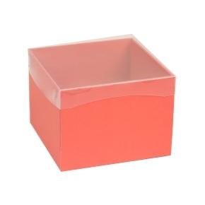 Darčeková krabička s priehľadným vekom 200x200x150 mm, koralová