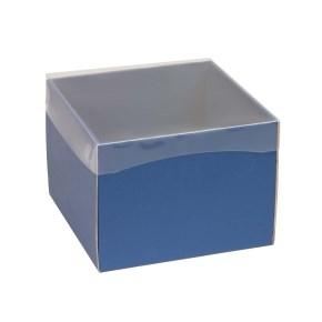 Darčeková krabička s priehľadným vekom 200x200x150 mm, modrá