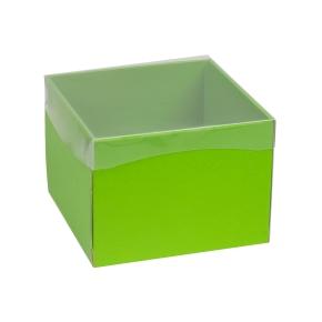 Darčeková krabička s priehľadným vekom 200x200x150 mm, zelená