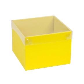 Darčeková krabička s priehľadným vekom 200x200x150 mm, žltá