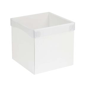 Darčeková krabička s priehľadným vekom 200x200x200 mm, biela