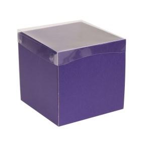Darčeková krabička s priehľadným vekom 200x200x200 mm, fialová