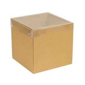 Darčeková krabička s priehľadným vekom 200x200x200 mm, hnedá - kraft