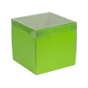 Darčeková krabička s priehľadným vekom 200x200x200 mm, zelená