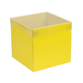 Darčeková krabička s priehľadným vekom 200x200x200 mm, žltá