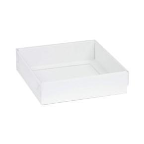 Darčeková krabička s priehľadným vekom 200x200x50 mm, biela