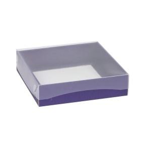 Darčeková krabička s priehľadným vekom 200x200x50 mm, fialová