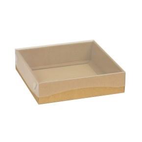 Darčeková krabička s priehľadným vekom 200x200x50 mm, hnedá - kraft