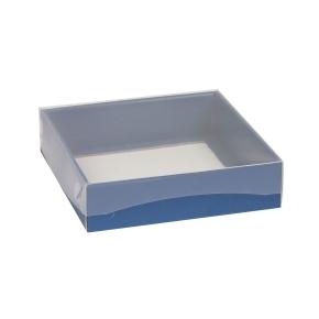 Darčeková krabička s priehľadným vekom 200x200x50 mm, modrá
