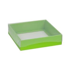 Darčeková krabička s priehľadným vekom 200x200x50 mm, zelená