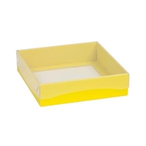 Darčeková krabička s priehľadným vekom 200x200x50 mm, žltá