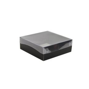 Darčeková krabička s priehľadným vekom 200x200x70/35 mm, čierno šedá matná