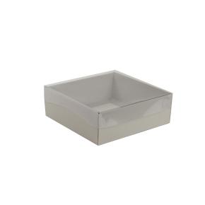 Darčeková krabička s priehľadným vekom 200x200x70/35 mm, šedá matná