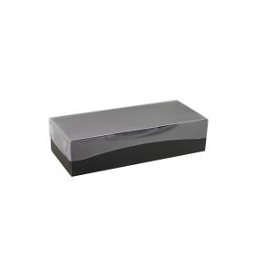 Darčeková krabička s priehľadným vekom 250x100x60/35 mm, čierno šedá matná