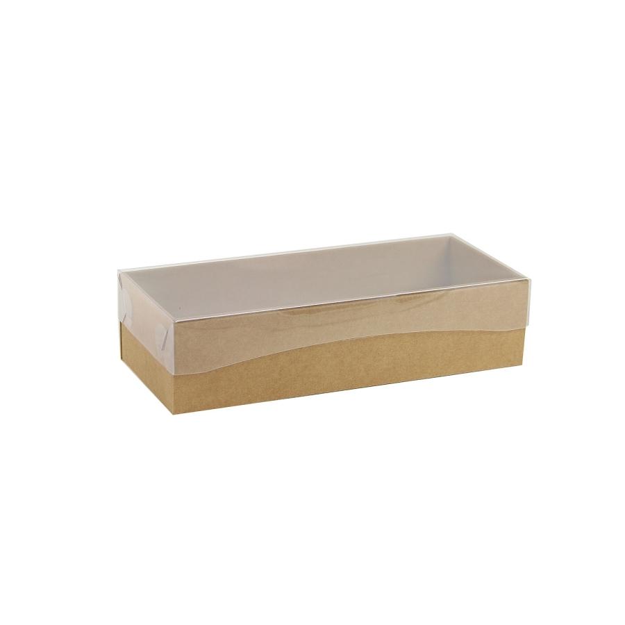 3f5c6abb2 Darčeková krabička s priehľadným vekom 250x100x60/35 mm, hnedá - kraftová