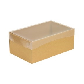 Darčeková krabička s priehľadným vekom 250x150x100 mm, hnedá - kraft