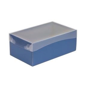 Darčeková krabička s priehľadným vekom 250x150x100 mm, modrá
