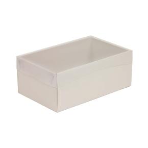 Darčeková krabička s priehľadným vekom 250x150x100 mm, sivá