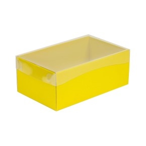 Darčeková krabička s priehľadným vekom 250x150x100 mm, žltá