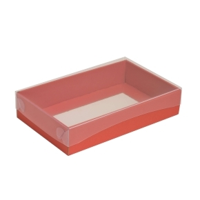 Darčeková krabička s priehľadným vekom 250x150x50/35 mm, koralová