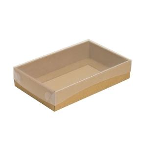 Darčeková krabička s priehľadným vekom 250x150x50/35 mm, kraftová - hnedá