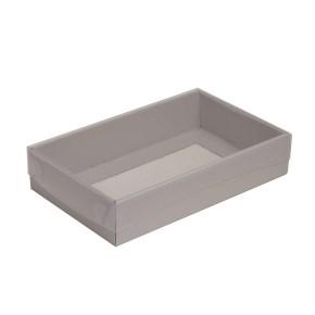 Darčeková krabička s priehľadným vekom 250x150x50/35 mm, sivá