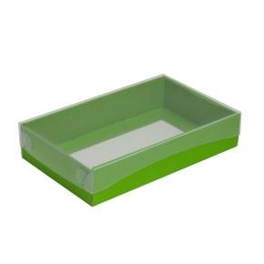 Darčeková krabička s priehľadným vekom 250x150x50/35 mm, zelená